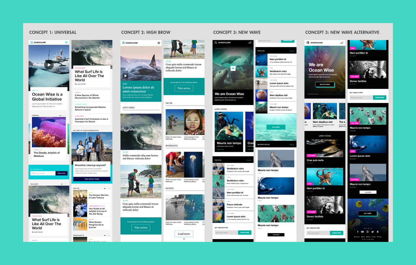Brand proposals for the Ocean Wise platform