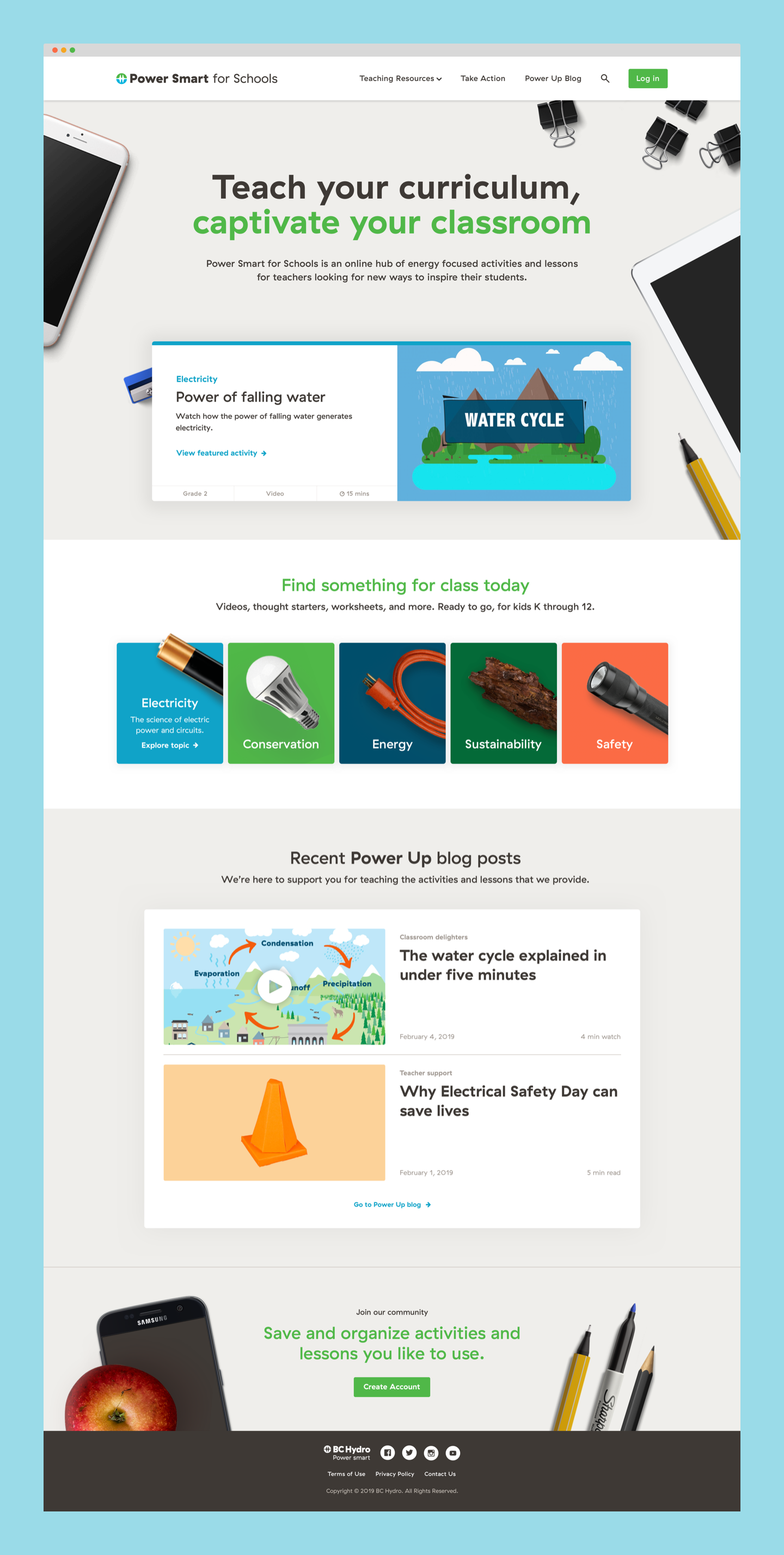 Homepage of Power Smart For Schools website